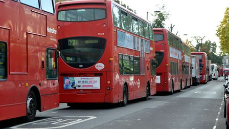 Gridlocked buses in Tufnell Park Road this afternoon were forced to turn off their engines and wait