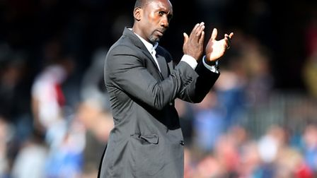 Queens Park Rangers manager Jimmy Floyd Hasselbaink applauds the fans at full time of the Sky Bet Ch