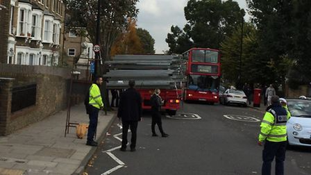 A lorry's load has shifted in Tufnell Park Road, which is being used as the main diversion route dur