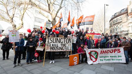 The 'lslington Kill the Housing Bill' protest from Clerkenwell in March. Picture: Vickie Flores
