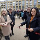 Cllr Claudia Webbe, right, helps open Canalside Square. Picture: Hyde