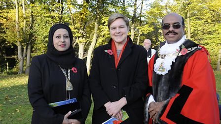 Cllr Ahmed Parvez with his wife Lena Ahmed and Caroline Gardiner