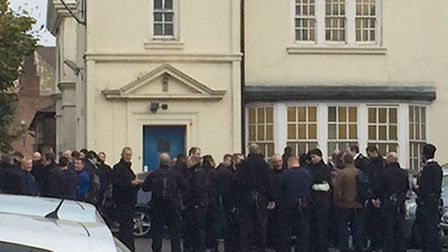 Prison officers outside HMP Pentonville this morning. Picture: Scott D'Arcy/PA Wire