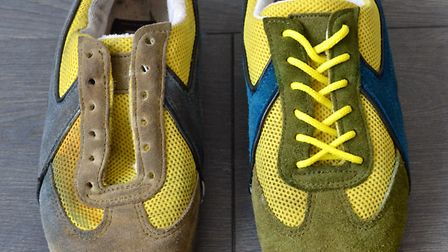 A pair of D&G trainers, one before restoration and one after