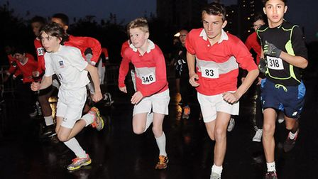 The start of the boys Years 9-11 race in the Islington Schools Running League