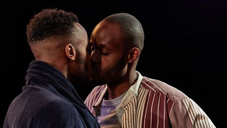 Boy with Beer at the Kings Head Theatre. Enyi Okoronkwo (Donovan) and Chin Nyenwe (Karl). Photo by T