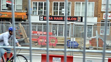 Elsa Hair Salon in Holloway Road is barely visible behind the Upper Holloway road works. Picture: Po