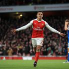 Arsenal's Alexis Sanchez celebrates scoring his side's third goal in the 3-1 win over Bournemouth