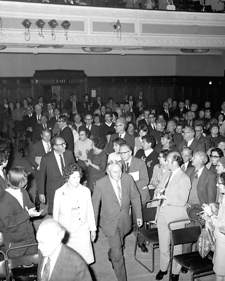 Former Prime Minister Harold Wilson at a Greater London Region meeting in the Islington Town Hall co