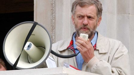 Islington North MP Jeremy Corbyn at protest outside Islington Town Hall in 2002 as council parking a