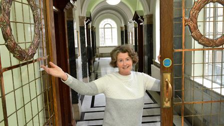 Historian and tour guide Oonagh Gay inside Islington Town Hall, where much of the original architect