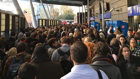 Travel chaos at Finsbury Park station on Tuesday morning. Picture: Darren Maggs