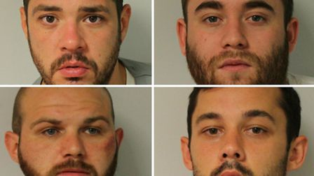 From top left, clockwise: Kyriacou, Kavanagh, Hopkins and Symes were jailed for more than 50 years