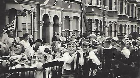 The street party took place to celebrate the Coronation of Queen Elizabeth II