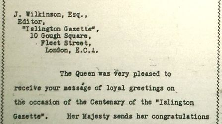 A letter from the Queen congratulating the Gazette on its 100th anniversary, September 1956. Picture