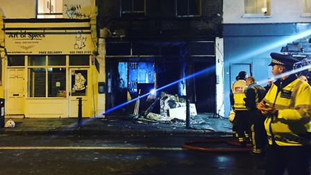 The scene of the blaze in Balls Pond Road last Wednesday night. Picture: Catherine Bethune