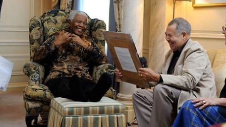 Lionel Morrison with the late South African president Nelson Mandela