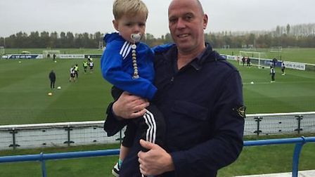 Freddie Hunt (left) and father David were invited down to QPR's training ground on Tuesday. (Pic: @Q