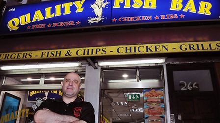Tony Harmanda outside Quality Fish Bar in Seven Sisters Road, Finsbury Park. Picture: Dieter Perry