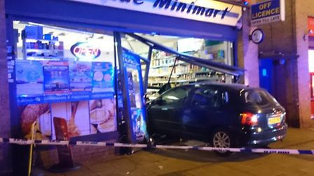 The car smashed into a shop in Stonebridge (Pic: Submitted)