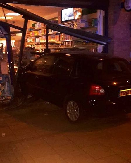 The car smashed into a shop on Hillside (Pic: Trevor Espeute)