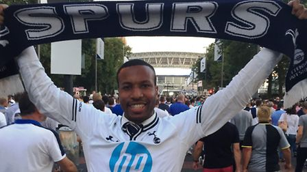 Spurs fan Thaddeus Collins at Wembley before the Champions League group game against Monaco