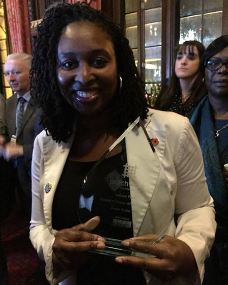 Dawn Butler with her new award (Pic: Susan Grace)