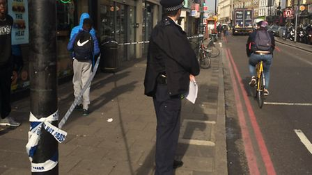 The scene in Kingsland Road, Dalston, following the stabbing on Thursday morning last week. Picture: