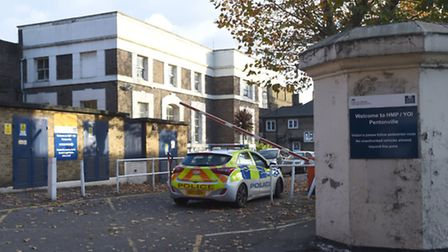 Police at Pentonville Prison after two inmates escaped yesterday. Picture: Charlotte Ball/PA