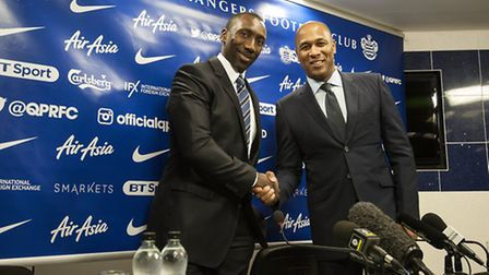 Hasselbaink (left) and director of football Les Ferdinand at the former's unveiling at Loftus Road l