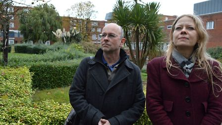 Will McMahon and Sian Berry in the Holloway Prison grounds on Monday. They are campaigning for commu