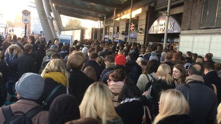 'I have never seen a crowd this big at the station': Finsbury Park this morning. Picture: Sarah Pype
