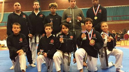 Sobell Karate Club fighters with their medals at the Portsmouth Open