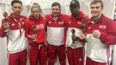 The victorious Islington Boxing Club team in Jersey. left to right: Byron Cox, Amy Andrew, Darren Sm