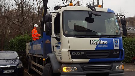 A lorry in the Wedmore Gardens car park