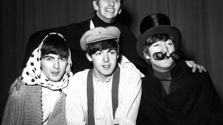 The Beatles pictured in costume for a sketch during dress rehearsal at the Finsbury Park Astoria, Lo