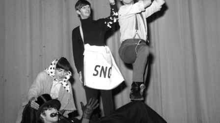 The Beatles are pictured in costume for a sketch at the Finsbury Park Astoria, London for the Beatle