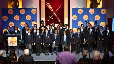 Children singing at Place2Be's Wellbeing in Schools Awards