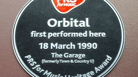 Iconic: A plaque to electronic music legends Orbital on the outside of the Garage in Holloway Road.