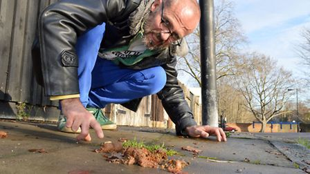 Stephen Griffiths with dog poo on Spears Road. Picture: Polly Hancock.