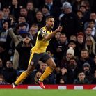 Arsenal's Theo Walcott celebrates scoring his side's first goal of the game during the Premier Leagu