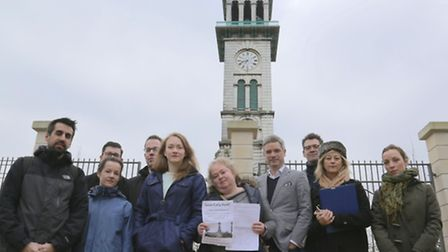 The Save Cally Park group in front of the clock tower in Caledonian Park.