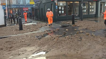 Damage to Upper Street caused by the burst pipe. Picture: London Fire Brigade