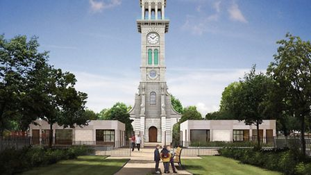An artist's impression of how the clock tower and visitors' centre will look. Picture: Islington Cou