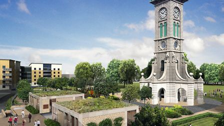 An artist's impression of the visitor centre buildings next to the Caledonian Park clock tower. Pict