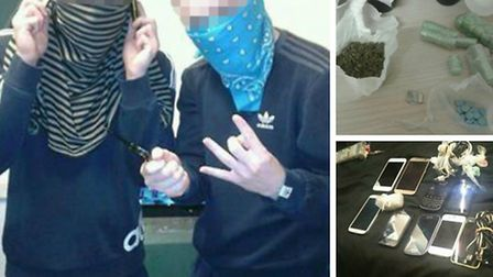 These images purportedly show prisoners brandishing a knife inside HMP Pentonville, and drugs and mo