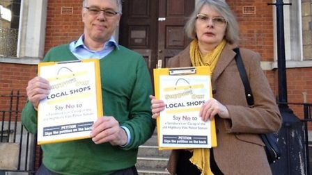 Julie Horten and John Gilbert pictureed outside the former Highbury Vale police station in 2014, whe
