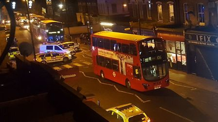 The 106 bus in Blackstock Road where the suspicious package was found. Picture: Rob Hastings/Twitter