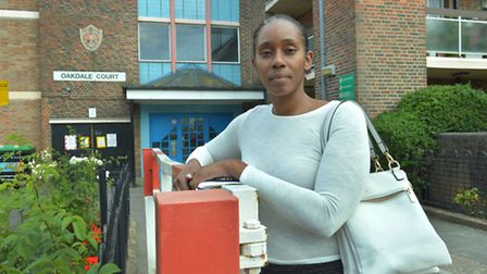 Jasmyn Ross outside Oakdale Court in Fortnam Road, Archway, where her niece Demi died. Picture: Poll