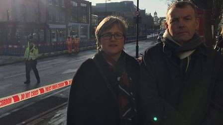 Cllr Caroline Russell and water industry consultant Michael Coffey at the scene of the flooding. Pic